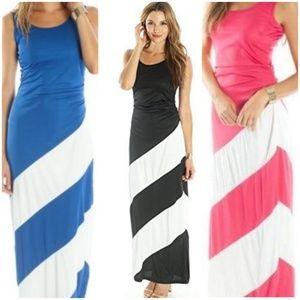 Dresses & Skirts - NEW Maxi Dress Black Pink Blue White Stripe Summer